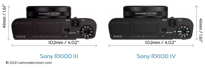 Sony RX100 III vs Sony RX100 IV Camera Size Comparison - Top View