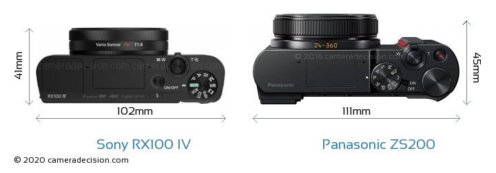 Sony RX100 IV vs Panasonic ZS200 Camera Size Comparison - Top View