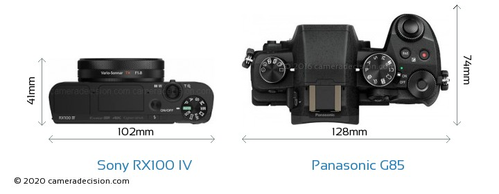 Sony RX100 IV vs Panasonic G85 Camera Size Comparison - Top View