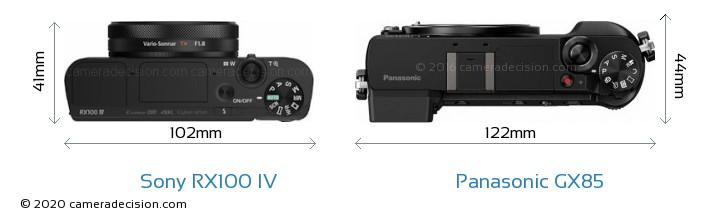 Sony RX100 IV vs Panasonic GX85 Camera Size Comparison - Top View