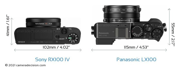 Sony RX100 IV vs Panasonic LX100 Camera Size Comparison - Top View