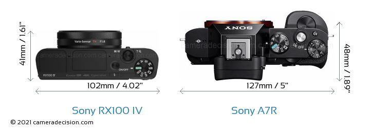 Sony RX100 IV vs Sony A7R Camera Size Comparison - Top View