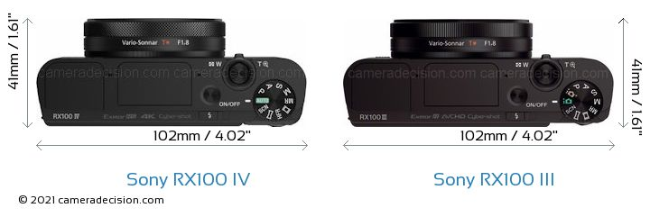 Sony RX100 IV vs Sony RX100 III Camera Size Comparison - Top View