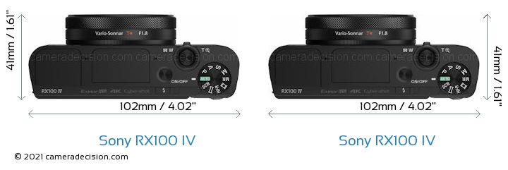 Sony RX100 IV vs Sony RX100 IV Camera Size Comparison - Top View
