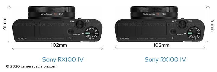 Sony RX100 IV vs Sony RX100 IV Camera Size Comparison - Top View