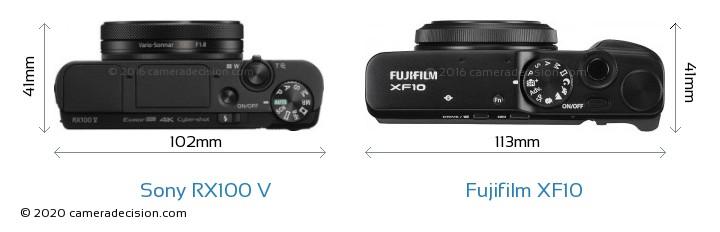 Sony RX100 V vs Fujifilm XF10 Camera Size Comparison - Top View