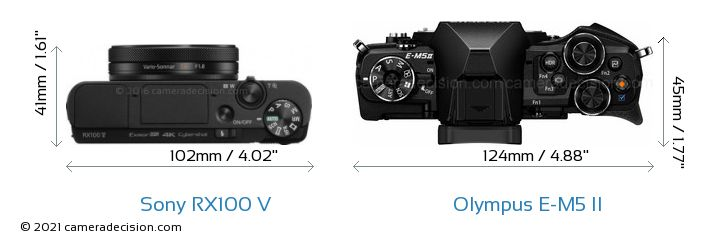 Sony RX100 V vs Olympus E-M5 II Camera Size Comparison - Top View