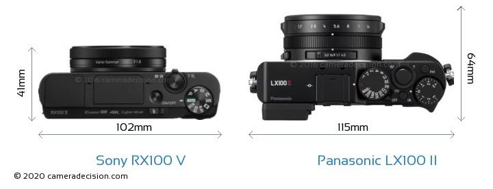 Sony RX100 V vs Panasonic LX100 II Camera Size Comparison - Top View