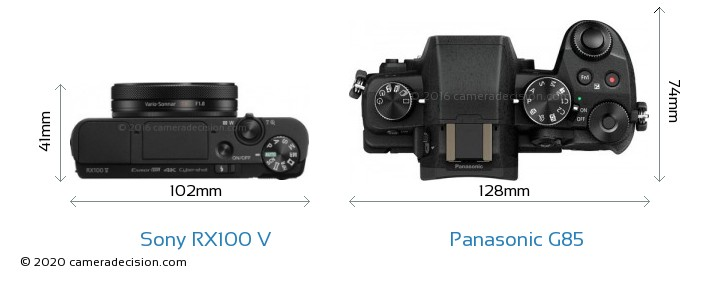 Sony RX100 V vs Panasonic G85 Camera Size Comparison - Top View
