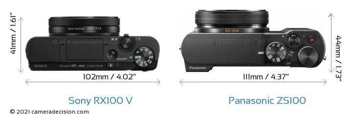Sony RX100 V vs Panasonic ZS100 Camera Size Comparison - Top View