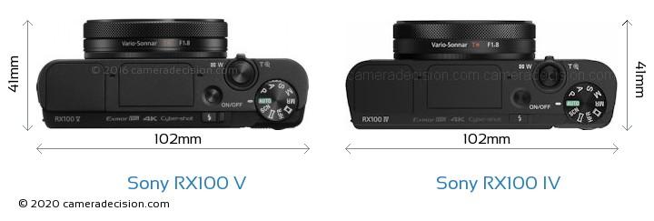 Sony RX100 V vs Sony RX100 IV Camera Size Comparison - Top View