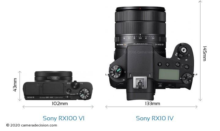 Sony RX100 VI vs Sony RX10 IV Camera Size Comparison - Top View