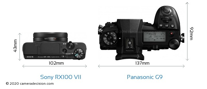 Sony RX100 VII vs Panasonic G9 Camera Size Comparison - Top View
