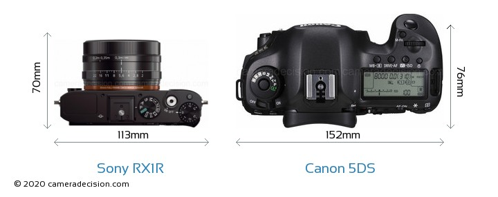 Sony RX1R vs Canon 5DS Camera Size Comparison - Top View