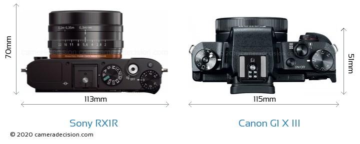 Sony RX1R vs Canon G1 X III Camera Size Comparison - Top View