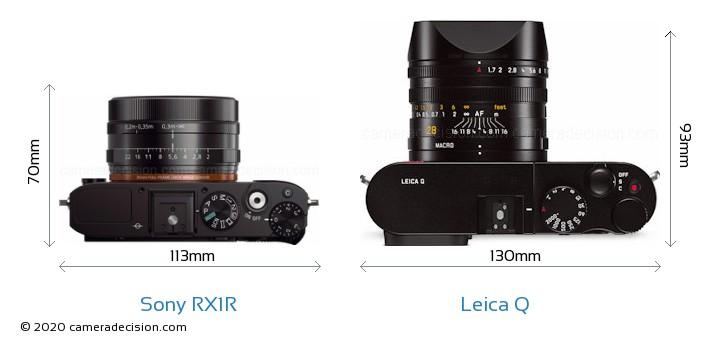 Sony RX1R vs Leica Q Camera Size Comparison - Top View