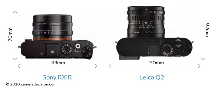 Sony RX1R vs Leica Q2 Camera Size Comparison - Top View