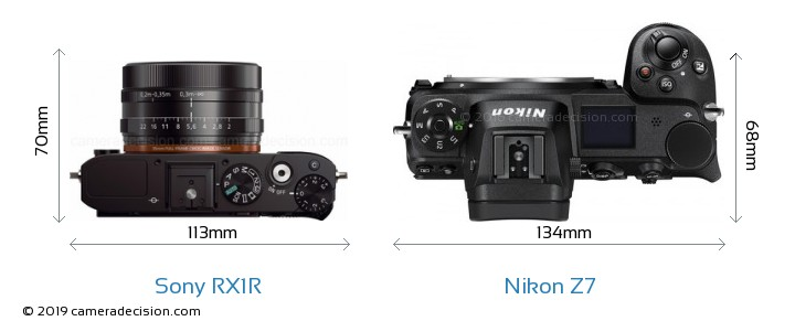 Sony RX1R vs Nikon Z 7 Camera Size Comparison - Top View
