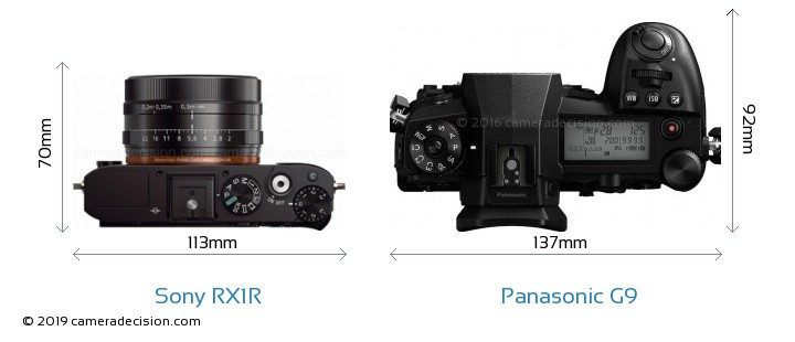 Sony RX1R vs Panasonic G9 Camera Size Comparison - Top View