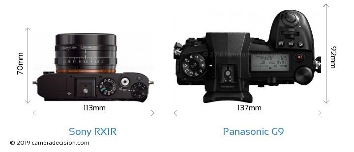 Sony RX1R vs Panasonic G9 Camera Size Comparison - Top View