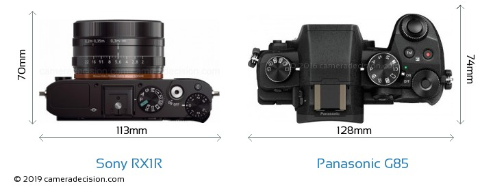 Sony RX1R vs Panasonic G85 Camera Size Comparison - Top View