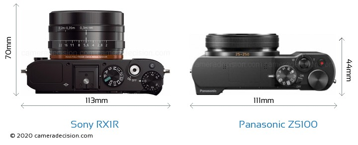 Sony RX1R vs Panasonic ZS100 Camera Size Comparison - Top View