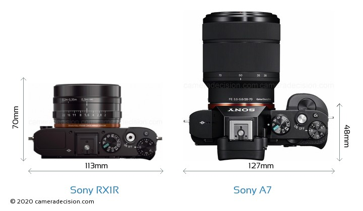 Sony RX1R vs Sony A7 Camera Size Comparison - Top View