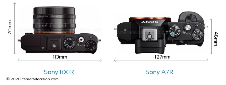 Sony RX1R vs Sony A7R Camera Size Comparison - Top View