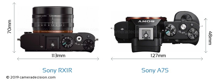 Sony RX1R vs Sony A7S Camera Size Comparison - Top View