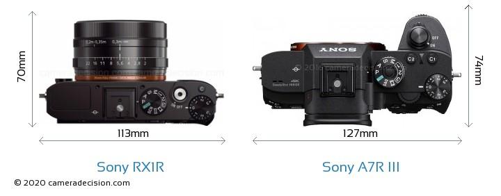 Sony RX1R vs Sony A7R III Camera Size Comparison - Top View
