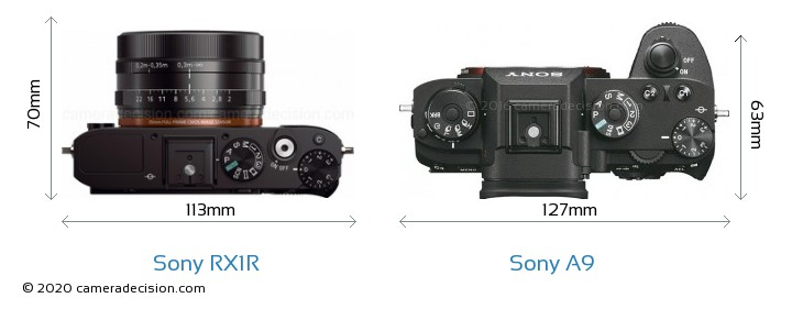 Sony RX1R vs Sony A9 Camera Size Comparison - Top View