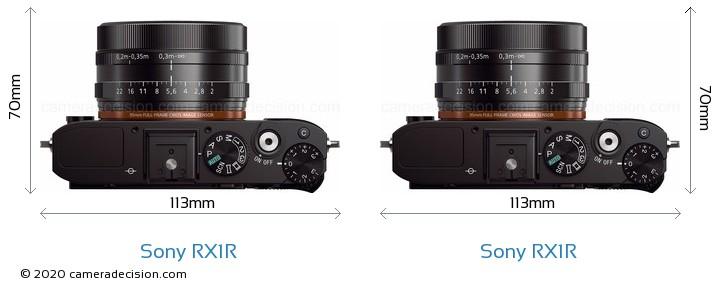 Sony RX1R vs Sony RX1R Camera Size Comparison - Top View