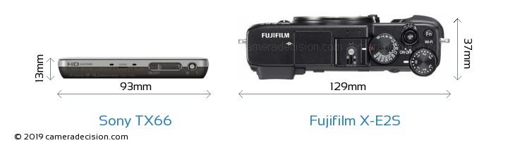 Sony TX66 vs Fujifilm X-E2S Camera Size Comparison - Top View