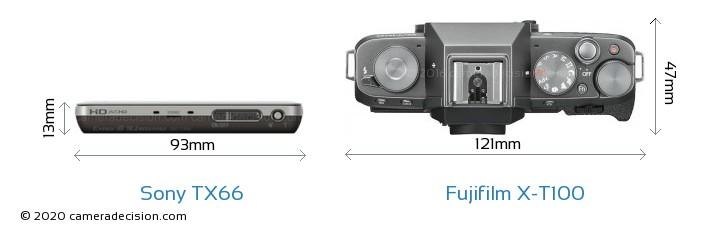 Sony TX66 vs Fujifilm X-T100 Camera Size Comparison - Top View
