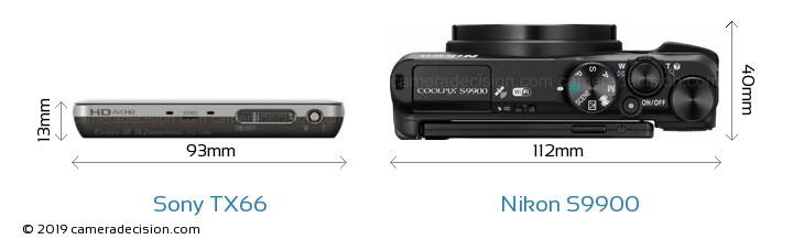 Sony TX66 vs Nikon S9900 Camera Size Comparison - Top View