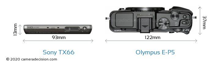 Sony TX66 vs Olympus E-P5 Camera Size Comparison - Top View