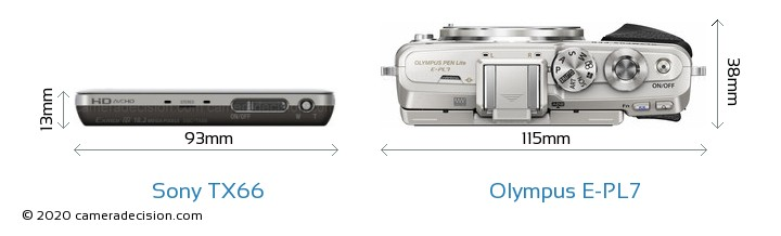 Sony TX66 vs Olympus E-PL7 Camera Size Comparison - Top View