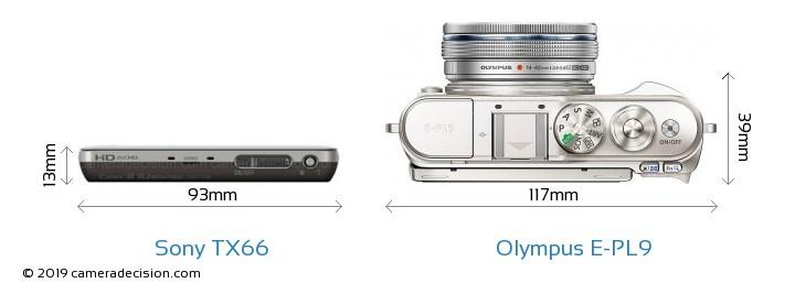 Sony TX66 vs Olympus E-PL9 Camera Size Comparison - Top View