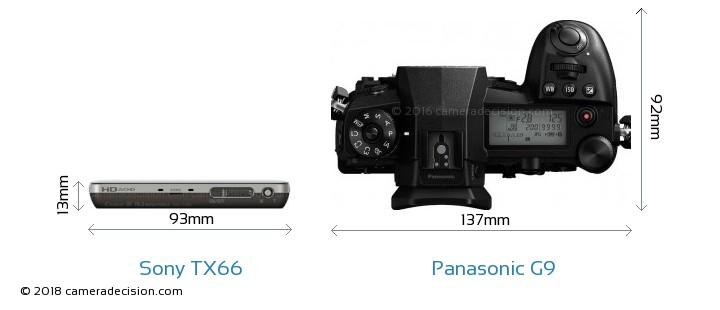 Sony TX66 vs Panasonic G9 Camera Size Comparison - Top View