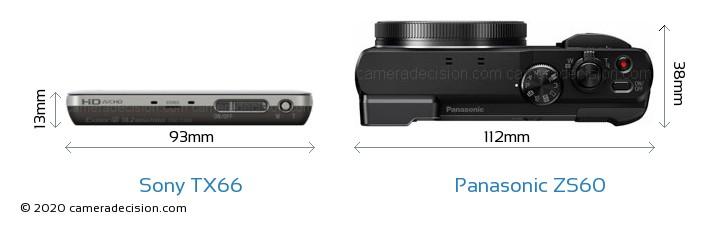 Sony TX66 vs Panasonic ZS60 Camera Size Comparison - Top View
