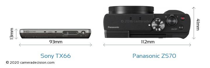 Sony TX66 vs Panasonic ZS70 Camera Size Comparison - Top View