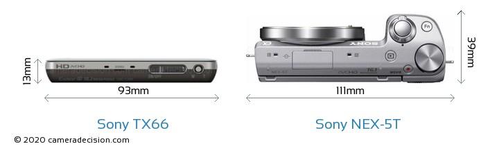 Sony TX66 vs Sony NEX-5T Camera Size Comparison - Top View