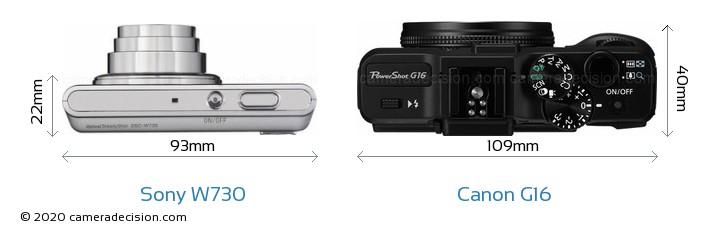 Sony W730 vs Canon G16 Camera Size Comparison - Top View