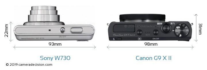 Sony W730 vs Canon G9 X II Camera Size Comparison - Top View