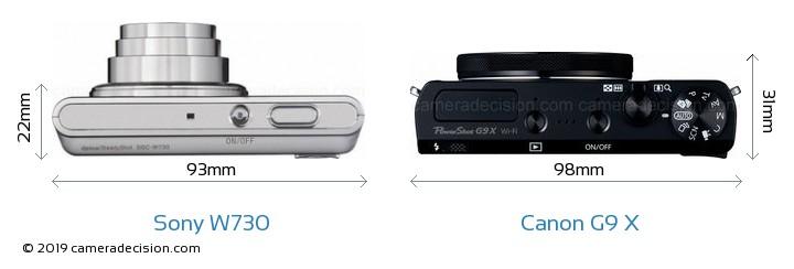 Sony W730 vs Canon G9 X Camera Size Comparison - Top View