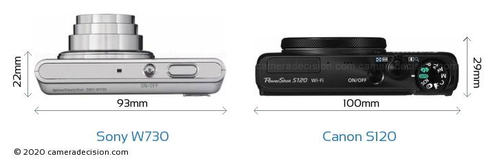 Sony W730 vs Canon S120 Camera Size Comparison - Top View
