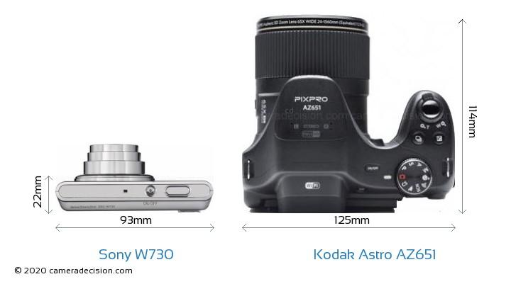 Sony W730 vs Kodak Astro Zoom AZ651 Camera Size Comparison - Top View