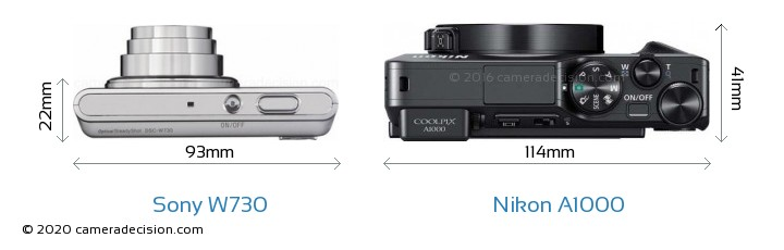 Sony W730 vs Nikon A1000 Camera Size Comparison - Top View