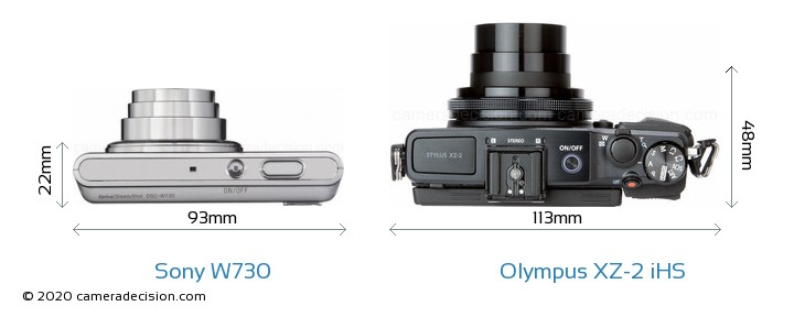 Sony W730 vs Olympus XZ-2 iHS Camera Size Comparison - Top View