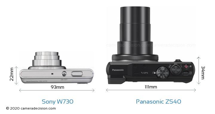 Sony W730 vs Panasonic ZS40 Camera Size Comparison - Top View